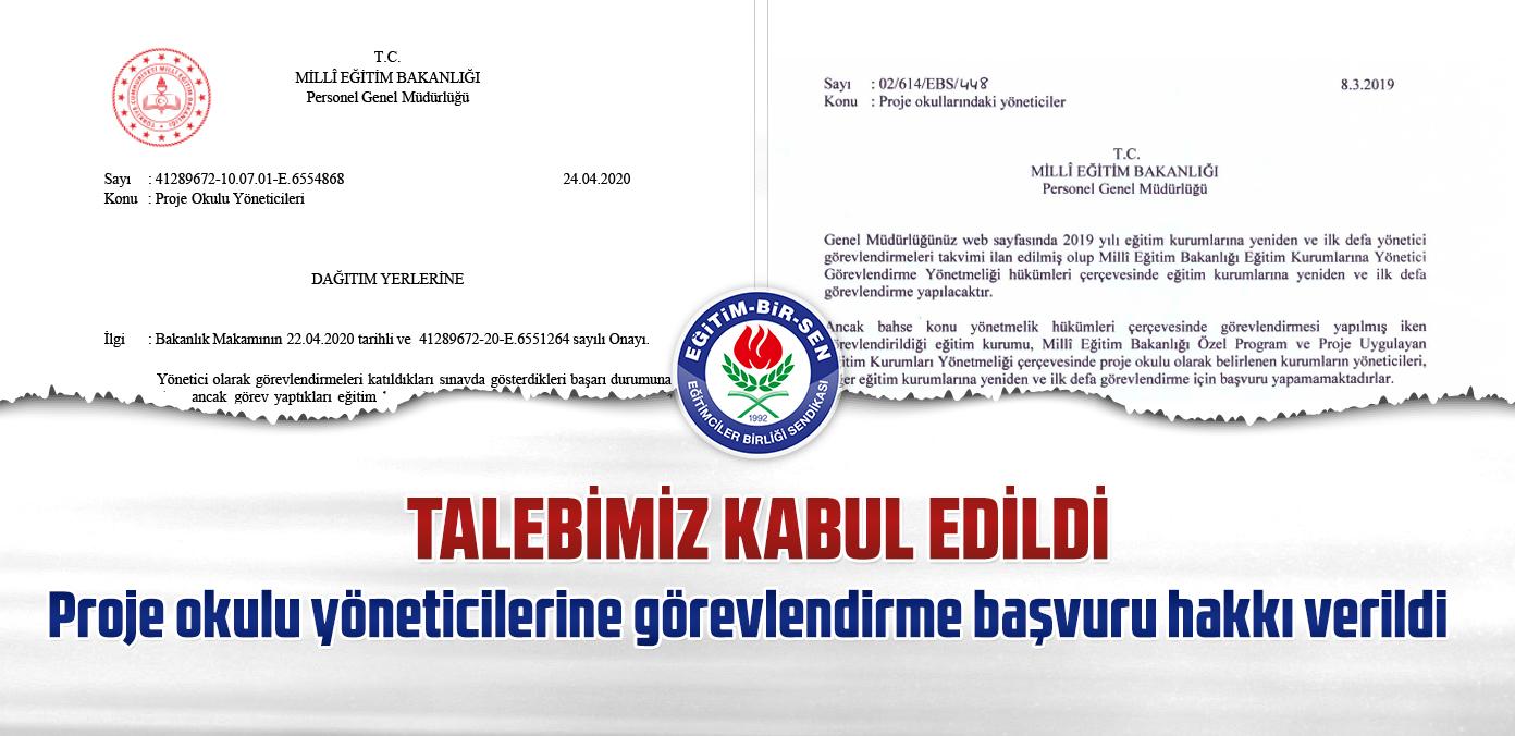 Talebimiz kabul edildi, proje okulu yöneticilerine görevlendirme başvuru hakkı verildi